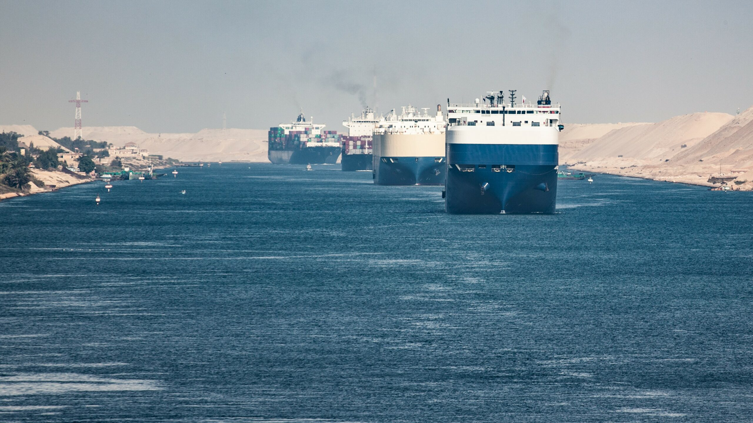 container ships on the suez canal in egypt